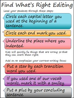 editing writing with students, try the find what's right editing method
