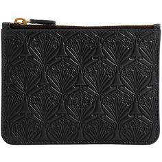 Liberty London Embossed Coin Pouch - Black ($115) ❤ liked on Polyvore featuring bags, wallets, black, leather wallets, coin purse wallets, print wallets, leather change purse and leather coin purse