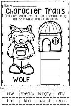 Character traits of the big bad wolf from the Three Little Pigs. Includes printables and a craftivity.