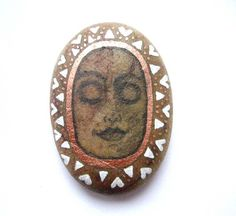 Hand painted meditation serene face stone/paperweight. by Ludibund, £10.00