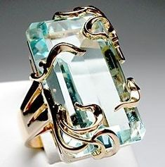 Natural Aquamarine & Solid 14k Gold Ring - near 1950