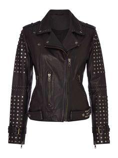Label Lab Studded Leather Jacket - House of Fraser
