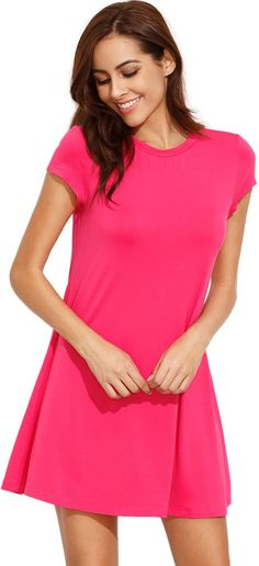Shein Hot Pink Swing Tee Dress