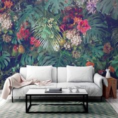 wallpaper living room living room paint ideas, floral and palm leaves wallpaper, white sofa, green printed rug Accent Walls In Living Room, Eclectic Living Room, Living Room Paint, Palm Leaf Wallpaper, Print Wallpaper, Wallpaper Designs, Crazy Wallpaper, Feature Wallpaper, Wallpaper Wallpapers