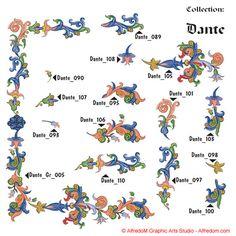 Renaissance Illuminated Manuscripts Borders & Letters Clip Art EPS