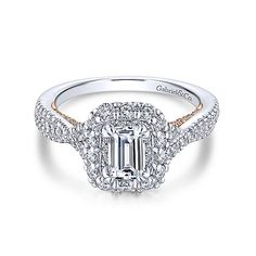 14K White-Rose Gold Double Halo Emerald Cut Complete Diamond Engagement Ring