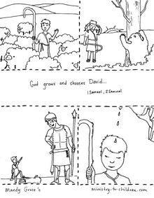 """This free coloring page illustrates several of the important life events of David. From his humble beginning as a shepherd boy, to hisanointingas King of Judah. The overall theme is """"God chooses and grows David."""""""