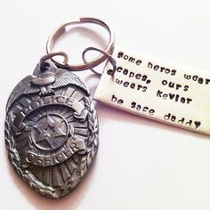 Hand Stamped keychain for Police Officer. A Father's Day gift. www.loveletterjewelry.com