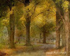 Autumn Cemetery Photograph  Landscape by DavidMellenbruch on Etsy, $22.00