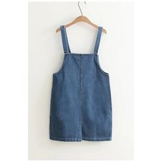 Basic Plain Split Back Buttons Straps Mini Denim Overall Dress (£28) ❤ liked on Polyvore featuring dresses, strappy dress, short blue dress, short dresses, blue mini dress and short denim dress