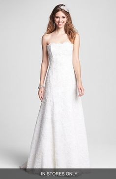 BLISS Monique Lhuillier Strapless Beaded Lace Wedding Dress (In Stores Only) available at #Nordstrom