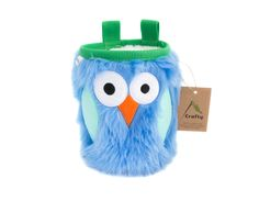 Forest Owl Furry Chalk Bag, Rock Climbing Chalk Bag by Crafty Climbing