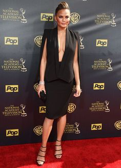 It's definitely Chrissy Teigen's style to wear revealing clothes, and Sunday was no exception when she attended the 2015 Daytime Emmy Awards at Warner Bros Chrissy Teigen Style, Strappy Heels, Peplum Dress, Personal Style, Style Inspiration, Blazer, Womens Fashion, Warner Bros, How To Wear