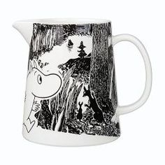 """Moomin Adventure Pitcher The great porcelain maker, Arabia, has once again added another piece to its already extravagant Moomin collection with this cute glossy-finished pitcher. A part of the new """"Moomin Adventure"""" series, t. Marimekko, Moomin Mugs, Water Carafe, Tove Jansson, Black And White Background, Nordic Home, Scandinavian Interior Design, Finland, Copenhagen"""