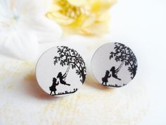 Nostalgy stud earrings, surgical steel and wood, Scandinavian / Nordic style, childhood inspired, Selma Dreams by SelmaDreams on Etsy