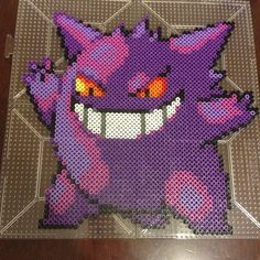 Gengar Pokemon perler beads by perler_purrs