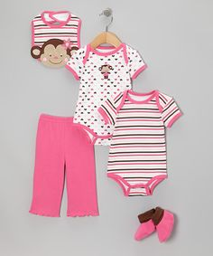 Take a look at this Pink Stripe Monkey Bodysuit Set by Carter's Watch the Wear on #zulily today!