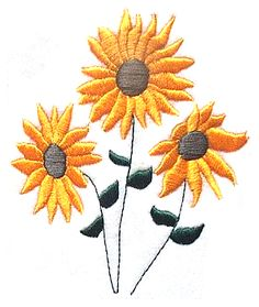 Flora Sunflower Embroidery Pattern For Greeting Cards