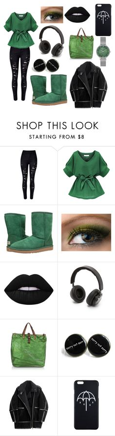 """""""Green and black"""" by charlest ❤ liked on Polyvore featuring UGG Australia, Lime Crime, B&O Play, Campomaggi, H&M and Skagen"""