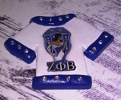 Polymer Clay T-Shirt Cabochon / Flat Backed - White and Blue details plus Swarovski Crystal Accents Zeta Phi Beta...$7.50