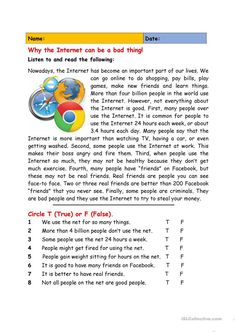 Why the Internet Can be a Bad Thing! Why the Internet Can be a Bad Thing! Essay Writing Skills, English Writing Skills, English Reading, English Lessons, Reading Skills, Teaching Reading, Reading Response, Teaching English Grammar, English Grammar Worksheets
