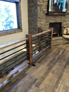 Rustic stairs with gas pipe railing Loft Railing, Pipe Railing, Railing Design, Staircase Design, Railing Ideas, Stair Railing, Railings, Rustic Stairs, House Stairs