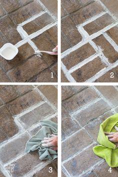 brick flooring How to whitewash a brick - Brick Floor Kitchen, Brick Tile Floor, Brick Flooring, Diy Flooring, Kitchen Floors, Red Brick Pavers, Brick Patios, Painted Pavers, Painted Floors