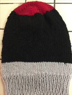 Red, black, grey Color Block slouch hat. Available on my Etsy store-Lunagaiaknits