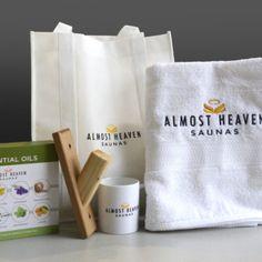 Gift Box - Almost Heaven Saunas Sauna Accessories, Saunas, Namaste, Peppermint, Heaven, Mugs, Box, Tableware, Gifts