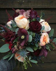Deep wedding bouquet colors for a winter wedding. Bouquet by fairy nuff flowers Winter Flowers, Red Flowers, Beautiful Flowers, Bouquet Flowers, Autumn Wedding Flowers, Bridal Flowers, Burgundy Wedding Flowers, Burgundy Bouquet, Sunflower Bouquets