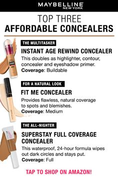 What's your favorite Maybelline concealer? Instant Age Rewind Concealer is the multitasker, you can use this for everything, contour, highlight, foundation, dark circles and more! For a more natural-looking makeup look, Fit Me Concealer gives you medium coverage and covers up and blemishes. For a concealer that needs to last all day and night, Super Stay Full Coverage Concealer won't let you down. What's your pick?