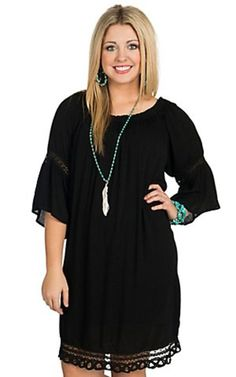 Flying Tomato Women's Black Off The Shoulder 3/4 Bell Sleeve Dress - Plus Sizes