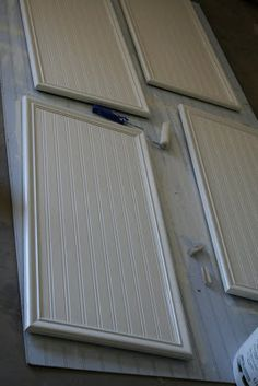 How to make a plain door look like bead board for Plain kitchen wallpaper