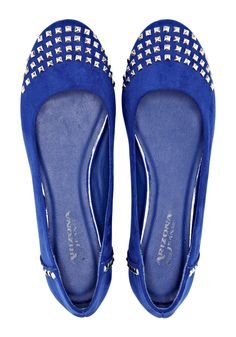 ballet shoe, meet rock & roll -- blue flats
