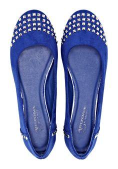 ballet shoe, meet rock & roll -- blue flats