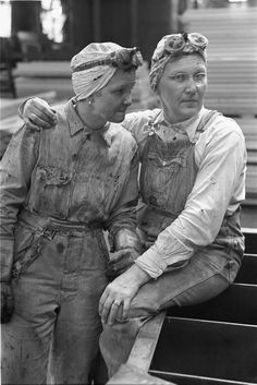 Two women Chicago, Burlington and Quincy Railroad Company employees at a repair shop, Lincoln, Nebraska, United States, 1948, photograph by Russell Lee.