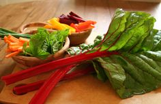 Vegetable Chard Wraps With Spicy Lime-Ginger Dipping Sauce. If you are craving something crunchy and spicy but don't want to load up on some serious chip and salsa calories, try these refreshing, cooling chard wraps. Please your palate with a rainbow of phytonutrients and zingy dipping sauce, which transforms these raw veggies into a scrumptious snack.
