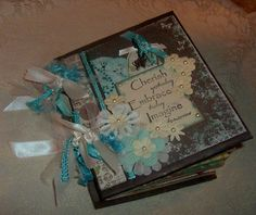 This would be really cool for a best friend Christmas gift or Secret Santa!!!!!   TPHH Chunky Premade Prima PAPER BAG Gathering Scrapbook Mini Photo album Debi