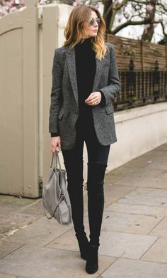 855fdcde8965 how to style a blazer   black sweate + bag + skinnies + over knee boots