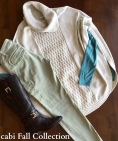Loving this fall outfit from cabi! Celadon Cargo pants with the Swing Tee, and Cowl Poncho.