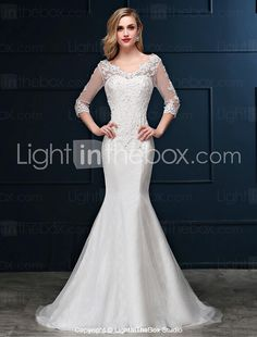 Trumpet / Mermaid Wedding Dress - Elegant & Luxurious Lacy Looks Sweep / Brush Train V-neck Lace / Tulle with Appliques / Beading 2017 - $99.99