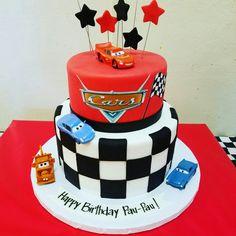 Boys 1st Birthday Party Ideas, Birthday Party Snacks, 3rd Birthday Cakes, Cars Birthday Parties, Lightning Mcqueen Birthday Cake, Lightning Mcqueen Cake, Disney Cars Cake, Disney Cars Birthday, Cars Theme Cake