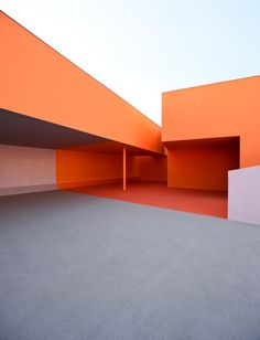 """Bark cladding and clashing colours create """"joyful chaos"""" in school by Dominique Coulon & Associés Architecture Design, Minimalist Architecture, Contemporary Architecture, Orange Architecture, Paris Suburbs, Interior And Exterior, Interior Design, Minimal Photography, Photography Poses"""