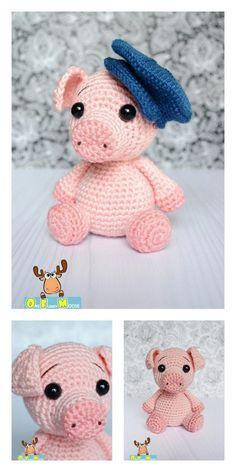 Amigurumi Little Piggy Free Pattern – Free Amigurumi Patterns Crochet Pig, Easter Crochet, Cute Crochet, Crochet Dolls, Crochet Crafts, Crochet Projects, Crochet Animal Patterns, Crochet Patterns Amigurumi, Stuffed Animal Patterns