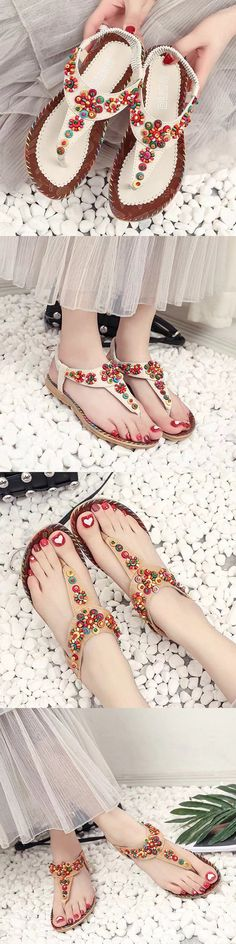 US$13.21  Bohemia Flowers Diamond Beads Shape Splice Flat Summer Sandals