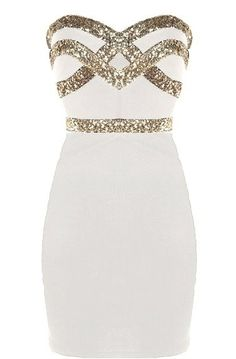 White Diamond Dress: Features an ultra feminine sweetheart neckline, glittering gold crossover design to the bodice, figure-flattering sequin waistband, and a sexy body-conscious silhouette to finish.