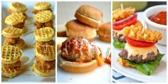 18 slider recipes - Pair these mini burgers with a flight of beers and you are SET. Slider Sandwiches, Mini Sliders, Ham Sliders, Mini Burgers, Turkey Burgers, Veggie Burgers, Sammy, Tailgate Food, Tailgating