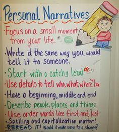 Personal narrative anchor chart - great for beginner writers during writers workshop Narrative Anchor Chart, Personal Narrative Writing, Writing Anchor Charts, Personal Narratives, Narrative Essay, Memoir Writing, Informational Writing, Informative Writing, Sentence Writing