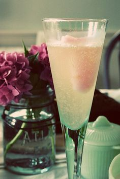 champagne float with pink grapefruit sorbet.