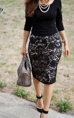 Trend Outfit With Lace Pencil Skirt  http://www.ferbena.com/trend-outfit-lace-pencil-skirt.html